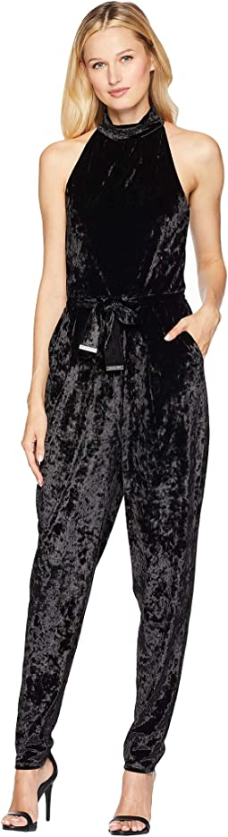 Mock Neck Velvet Jumpsuit