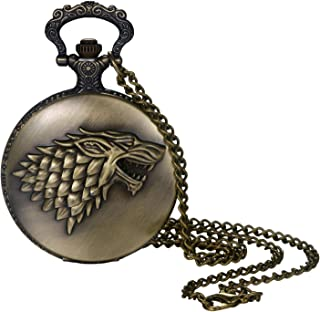Men and Boys Pocket Watch Vintage Bronze Steampunk Wolf Head Decorative Case Arabic Numeral Dial Quartz Analog Pocket Watch with Chain for Halloween Costume Party Christmas