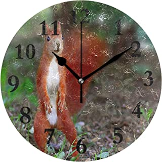 NMCEO Wall Clock Red Squirrel Round Hanging Clock Acrylic Battery Operated Wall Clocks for Home Decor Creative