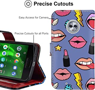Wallet Case Compatible for Moto G6 Plus (2018) [5.93in] Lips Gloss Lip Scrub Leather