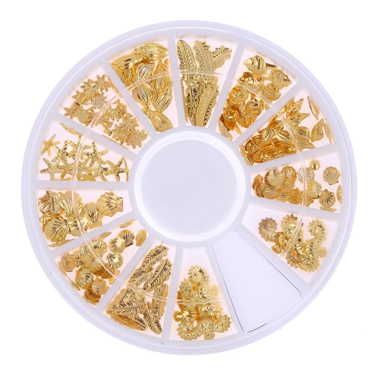 分離ドナウ川連続的Demiawaking ネイルパーツ メタル ネイルアート ゴールド 海テーマ(貝殻/海馬/海星) 12種類 DIY ネイルデコレーション ラウンドケース入 1個