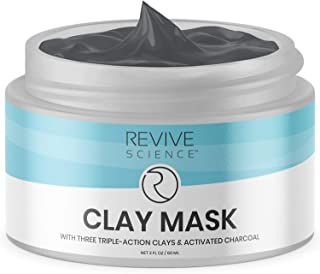 Revive Science Clay Face Mask - Kaolin Clay, Organic Lecithin, Activated Charcoal - Detox and Brighten Dark Spots, Acne Scars, Minimize Pores- Skin Care For Men and Women, All Skin Types - 2 FL