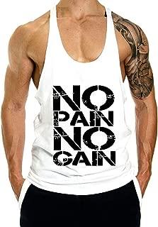 Men's No Pain No Gain Beast Workout Y Back Stringer Tank Top XS-2XL
