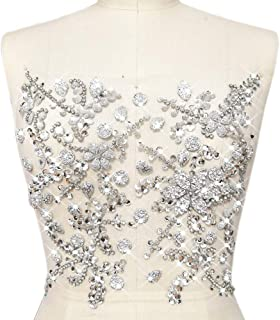Pure Handmade Beaded Bright Sew on Rhinestone Crystal Trim Sewing Beaded Flower Appliques For Wedding Dresses Patches Waist Decoration Chest Waist Accessory 10.6x12.2″ (Silver)