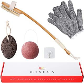 Dry Brushing Body Brush Set for Exfoliating Dry Skin, Improve Lymphatic Circulation and Smooths Cellulite, Includes Dry Body Brush, Konjac Sponge, Pumice Stone, Exfoliator Gloves and Hanger