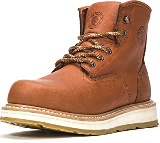 ROCKROOSTER Men's Work Boots, 6 Inch Soft Toe Boot, Wedge Sole, Arch Support Anti-Fatigue Shoes, Water Resistant Leather E...