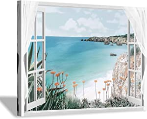 Hardy Gallery Coastal Painting Seascape Wall Art: Open Window View Picture Blue Ocean & Beach Artwork on Canvas for Bedroom (16'' x 12'' x 1 Panel)