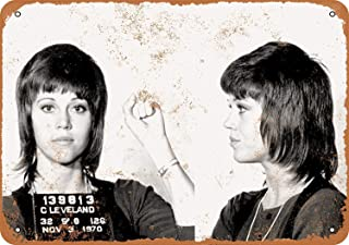 Mariner 1970 Jane Fonda Mug Shot Rustic Women Aluminum Funny Aluminum Funny Art Decor Movie Poster Vintage Tin Sign Dorm Game Room 12 X 8 in