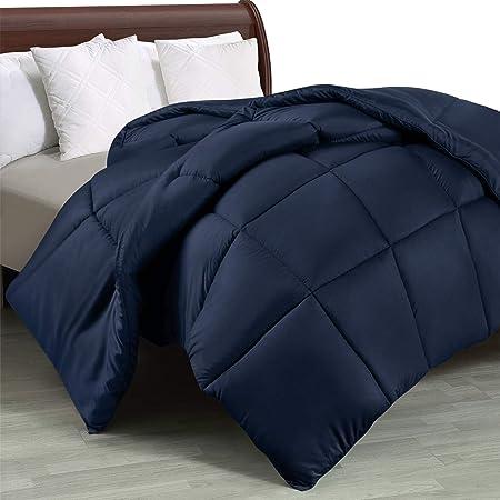 Utopia Bedding Couette 220x240 cm - Couette Chaud 370 GSM - Couverture Bleu Marine avec Onglets d'angle - en Microfibre (Bleu Marine, 220 x 240 cm)