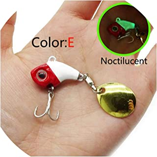 Romantico Metal Mini VIB with Spoon Fishing Lure 9.5g 16g Winter Ice Lures Fishing Tackle Crankbait Vibration Spinner,E,9.5g-2.3cm