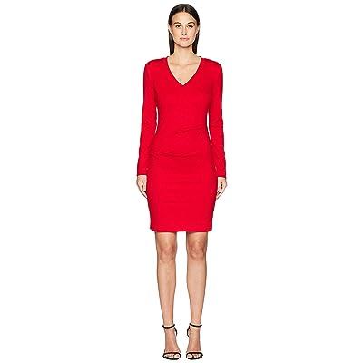 Nicole Miller Ponte V-Neck Tuck Dress (Lipstik Red) Women