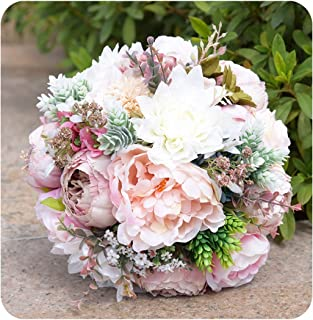 Encounter_meet Pink Real Touch Flowers Peony Bouquets for Wedding Peonies Bridal Bouquets Home Decoration 2 Styles,Style 1
