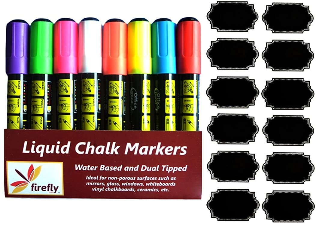 Firefly Craft Fine Tip and Broad Tip Chalk Marker Pens with Chalkboard Labels, 8 Pack