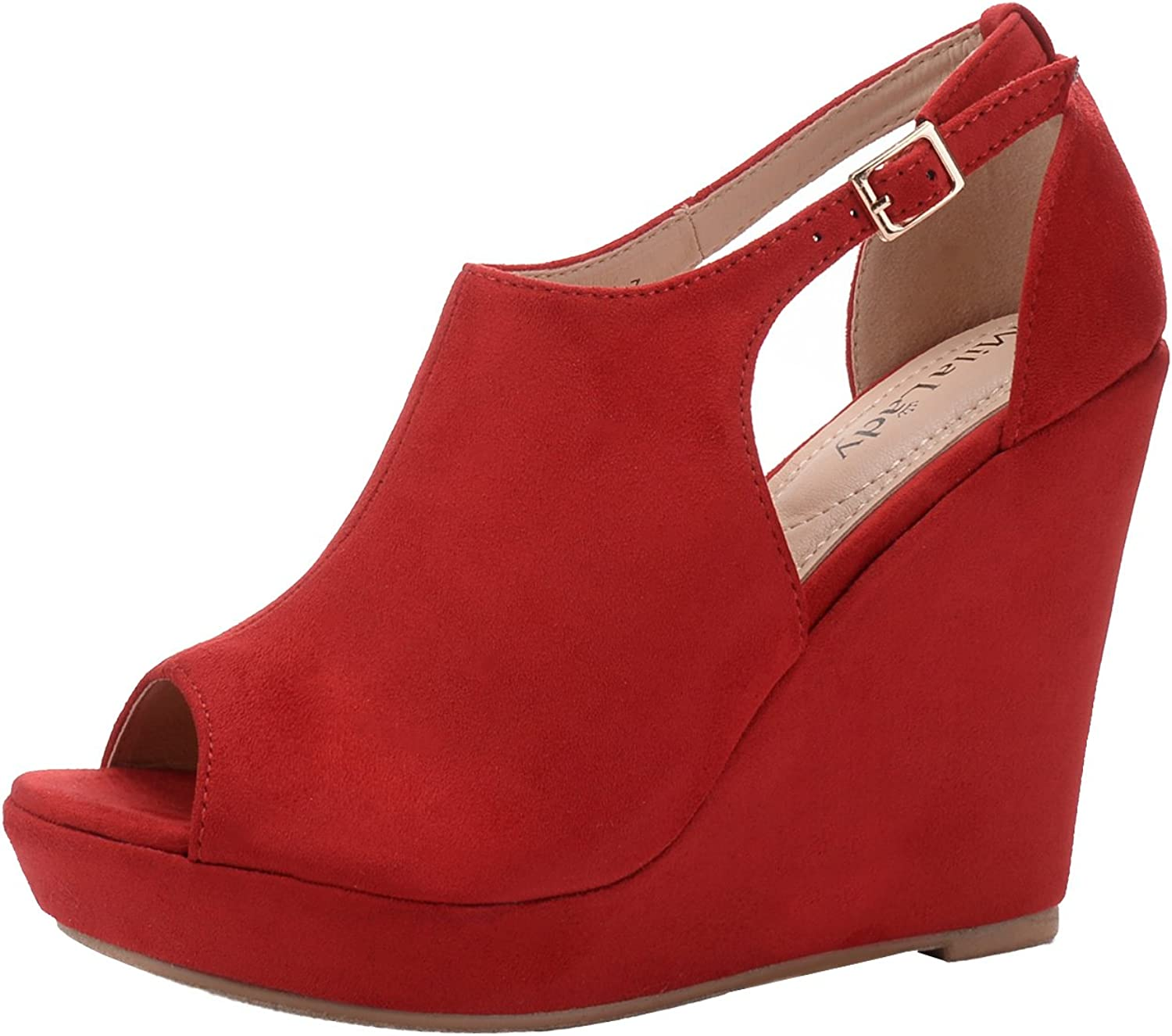 Mila Lady( Lisa 2 Women's Platform Wedges Cutout Side Straps,Peep-Toe Ankle Bootie. RED6.5