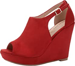 Mila Lady Lisa 2 Women's Platform Wedges Cutout Side Straps, Peep-Toe Ankle Bootie, Heeled Sandals