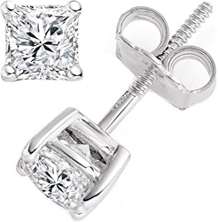 2.0 ct Brilliant Princess Cut Solitaire Highest Quality Moissanite Anniversary gift Stud Earrings Real Solid 14k White Gold Screw Back