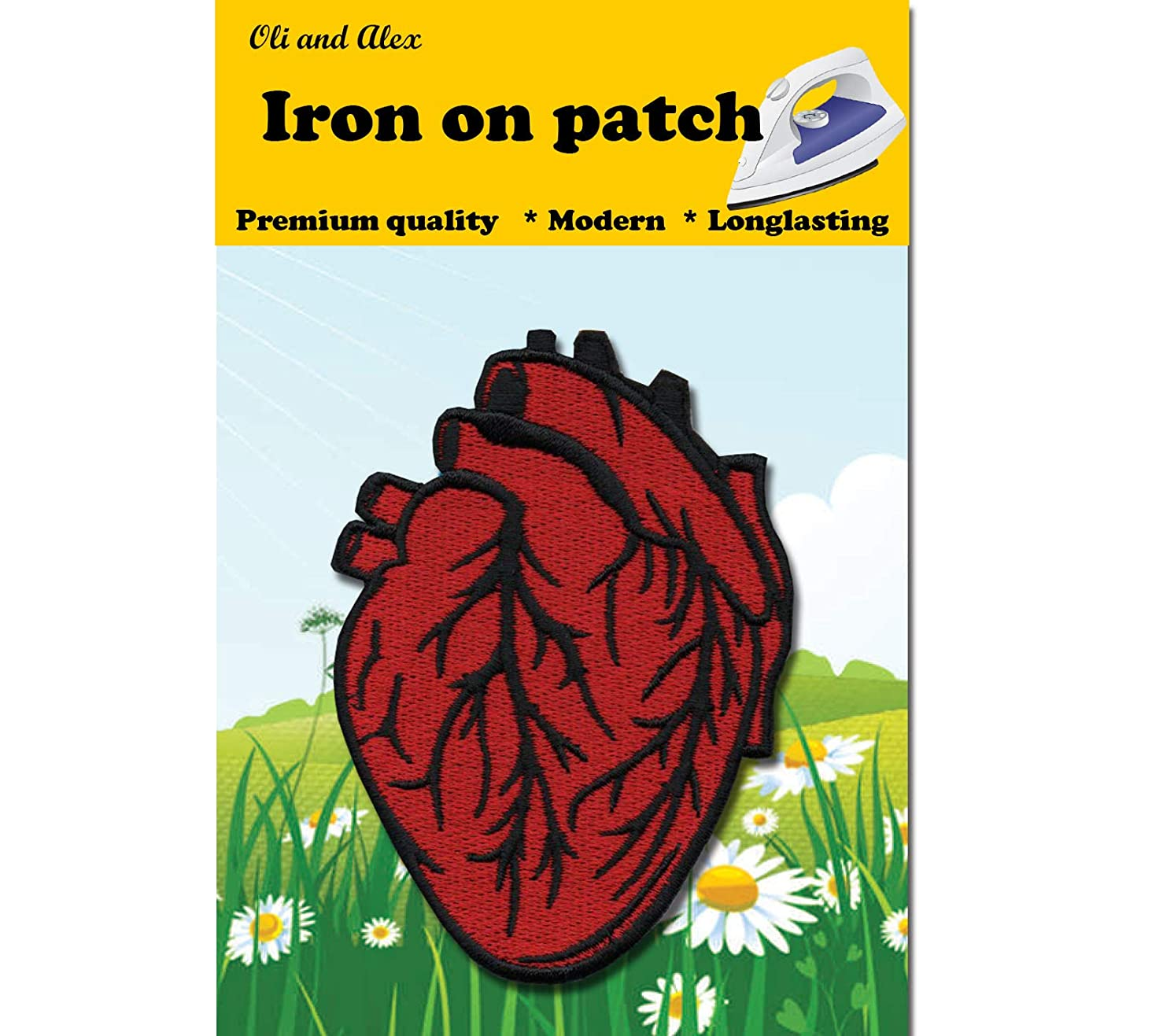 Iron On Patches - Red Anatomical Heart Patch Jacket Patches Iron On Patch Embroidered Applique A-181