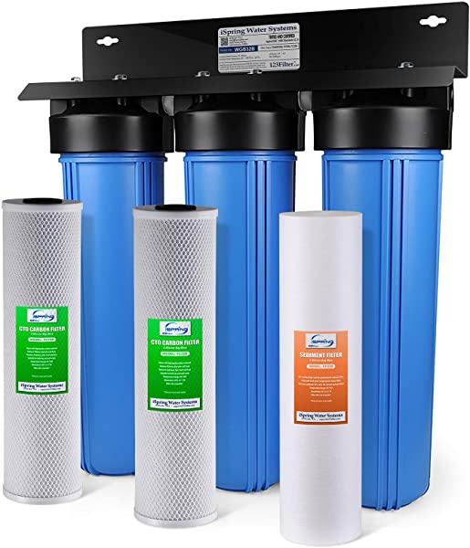 ISpring WGB32B 3 Stage Whole House Water Filtration System W 20 Inch Big Blue Sediment And Carbon Block Filters