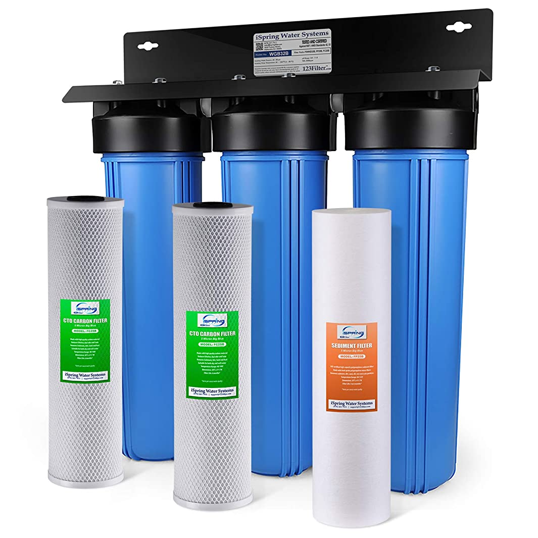 iSpring WKB32B 3-Stage Whole House Water Filtration System w/ 20-Inch Big Blue Sediment and Carbon Block Filters