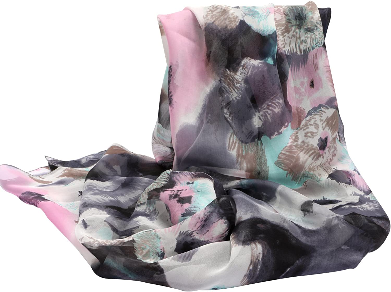 100% Silk Long Scarf Wraps Lightweight Sunscreen Shawl Scarves for Women 98  X 25
