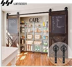 WINSOON 12FT Wood Double Sliding Barn Door Hardware Basic Black Big Spoke Wheel Roller Kit,5-18FT for Choose
