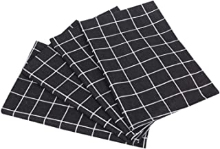 DeepGreenForest ランチョン マット テーブル クロス ランチクロス 布製 40x60cm 4枚セット 格子縞 ブラック