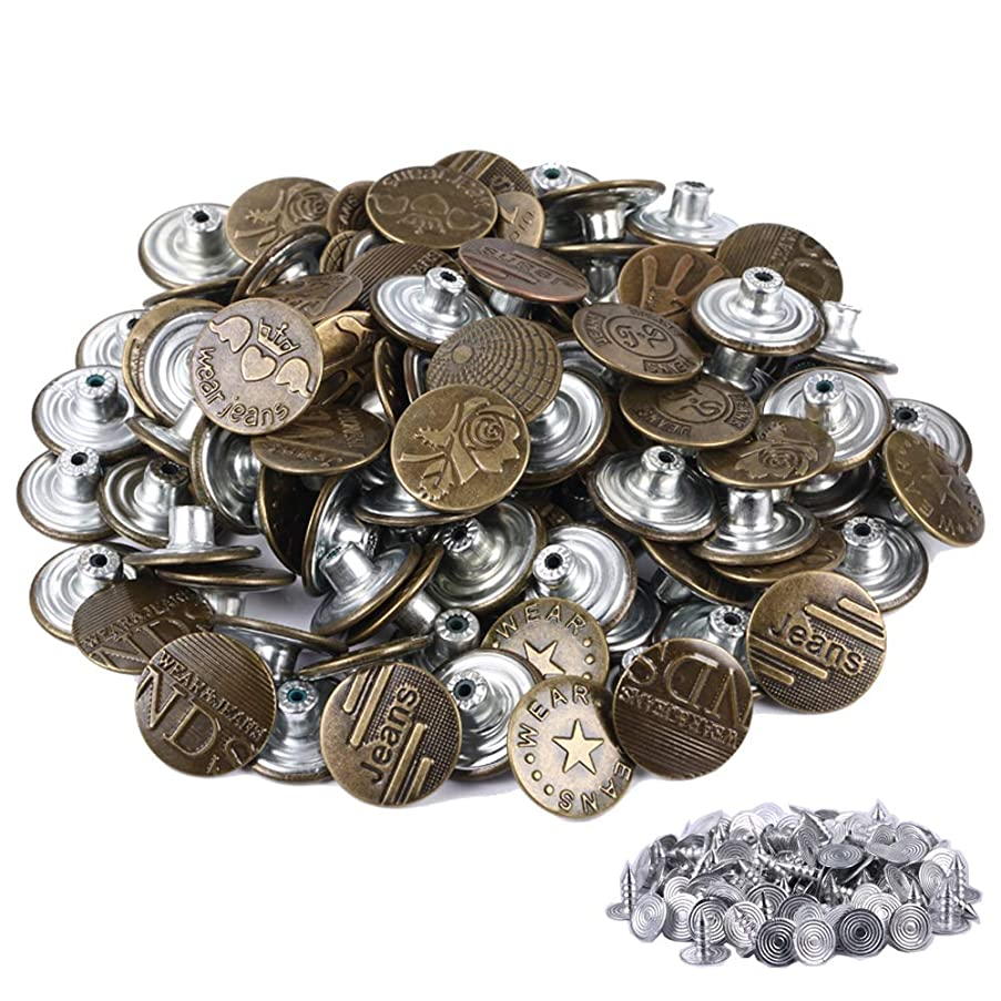 FENGWANGLI Jeans Buttons –Bronze Metal Buttons 10 Styles Tack Buttons Replacement Kit Studs Snap Clothes Pants Belts Sweaters (100pcs 20mm)