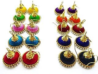 New Pearl Embellished 10 color Silk Thread Jhumki Combo