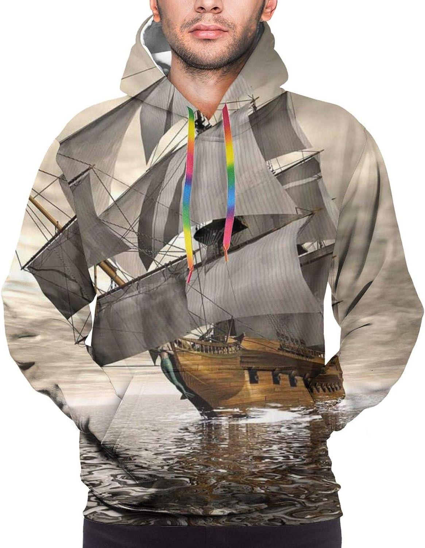 Men's Hoodies Sweatshirts,3D Style Pirate Ship Sea Historic Vessel Cloudy Sky Voyage Exploration Theme,Small