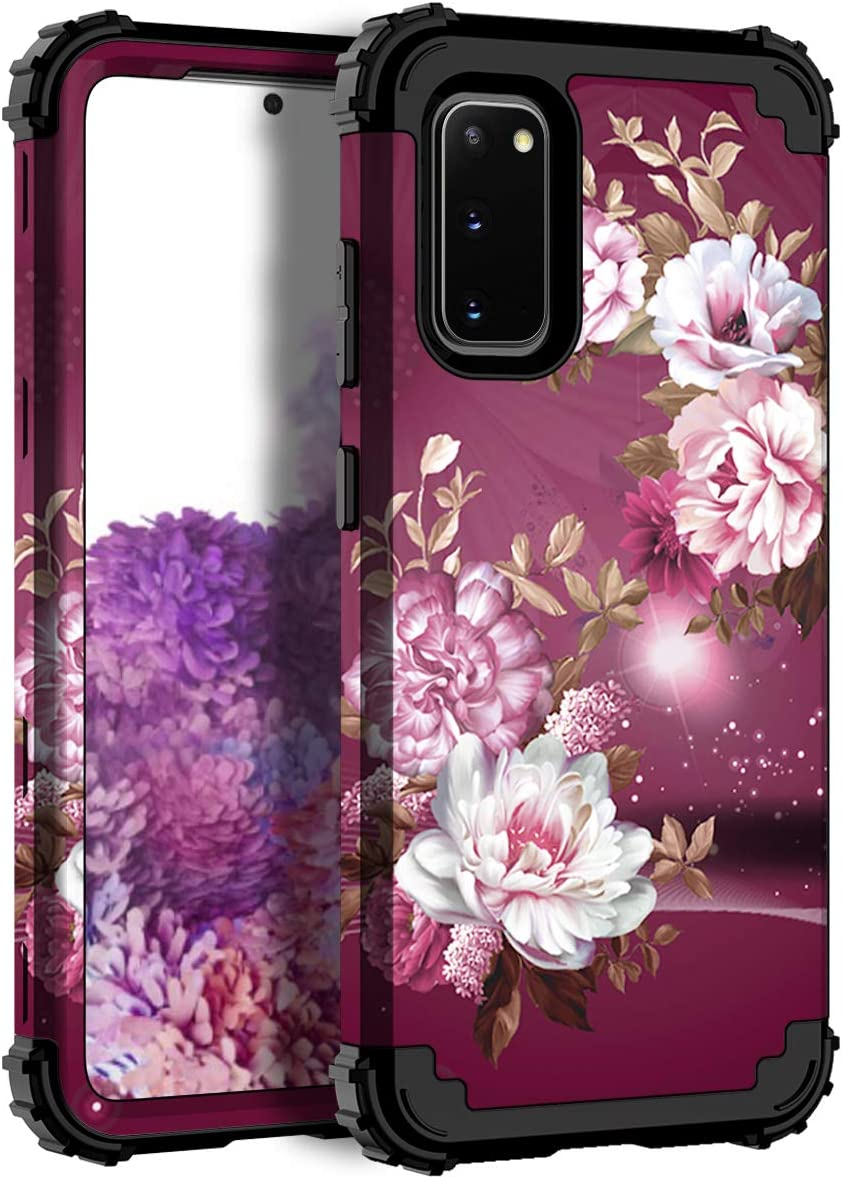 Hocase Galaxy S20 Case, Heavy Duty Shockproof Protection Hard Plastic Bumper+Soft Silicone Rubber Hybrid Protective Case for Samsung Galaxy S20 5G (6.2-inch Display) 2020 - Burgundy Flowers