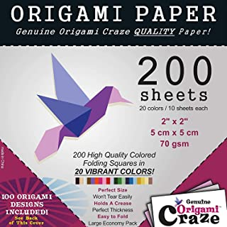 Best Premium Quality Mini Origami Paper Sheets for Arts and Crafts Square Sheets,2 Inch Pack of 200 with 20 Vibrant Double Sided Colors, 100 Design E-Book Included (See Back for Download info.) Review