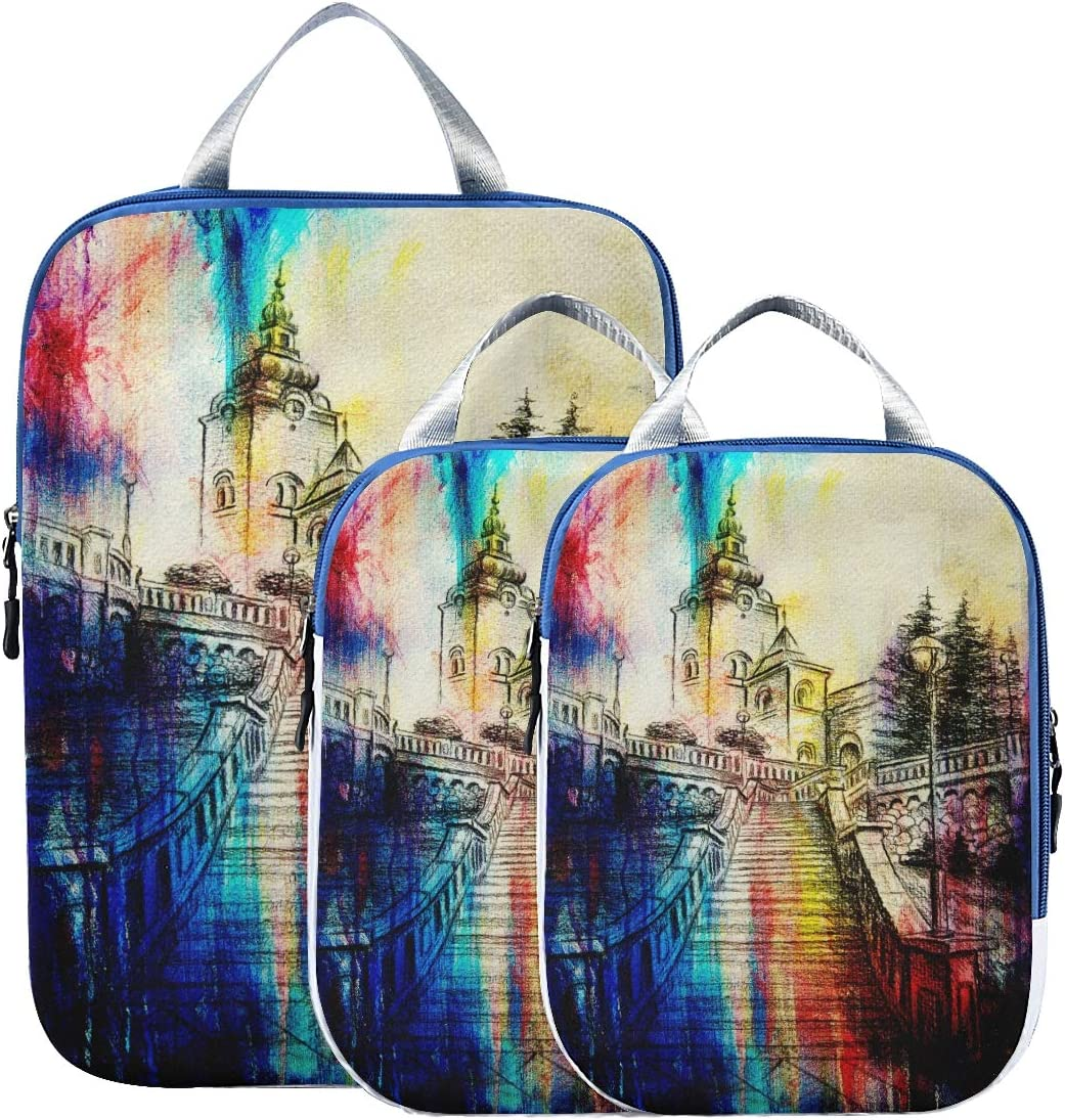 shopping Suitcase Super special price Organizer Bags Set Watercolor Stair And Church Colorful
