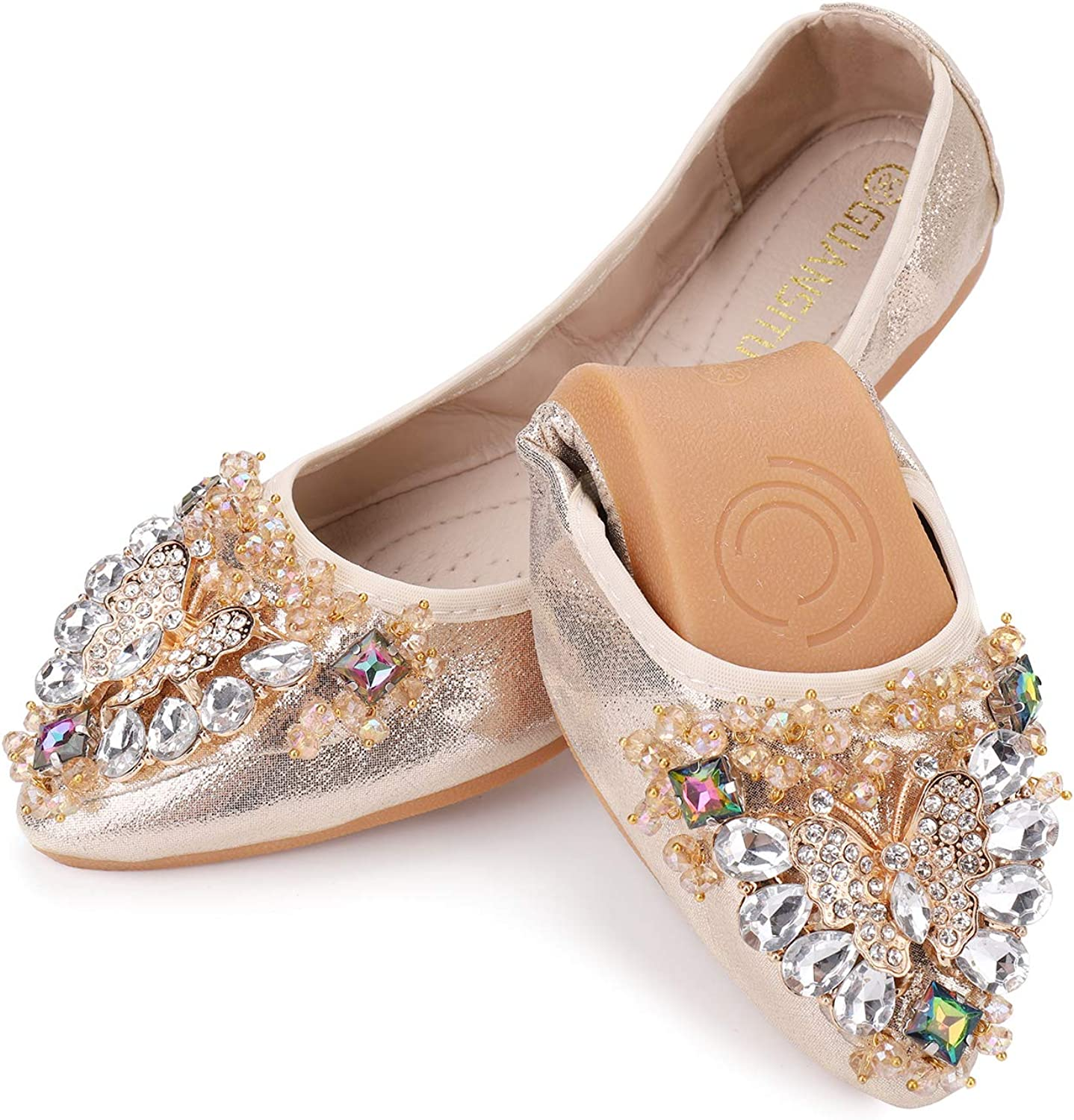 Women's Foldable Ballet Flats Wedding Raleigh Max 82% OFF Mall Casual Rhinestone Sparkly