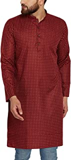 Sojanya Men's Cotton Linen Kurtas Medium Maroon