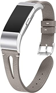 bayite Leather Bands Compatible Fitbit Charge 2, Replacement Genuine Wristband Straps Women Men, Gray Small