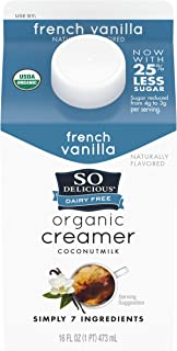So Delicious Dairy Free Organic Coconutmilk Creamer, French Vanilla, Vegan, Non-GMO Project Verified, 1 Pint