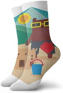 BEDKKJY, Calcetines de tripulación Bear Cartoon Building Sandcastles Custom Custom Unisex Casual Stocking Gift Sock Liquidación para niños