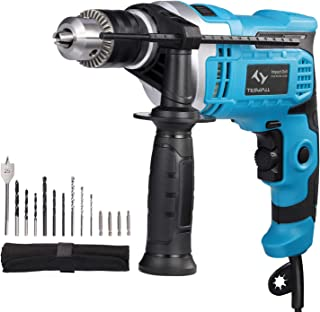 Hammer Drill 850W Tilswall Impact Drill 3000RPM Hand Electric Cored Percussion Drill with Drill Bits Set, Variable-Speed T...