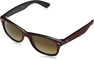 RAY-BAN RB2132 New Wayfarer Sunglasses, Black/Top Brrdo' Alcanta/Brown Gradient, 52 mm