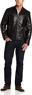 Dockers Men's Washed Leather Racer Jacket