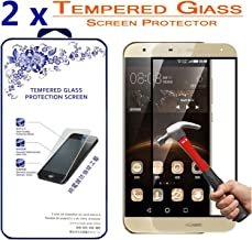 [2-Pack] Huawei G8/ G7 Plus Full Cover Tempered Glass Screen Protector - Nacodex 9H hardness Screen Cover for Huawei G8/ G7 Plus - Gold ,0.3mm HD Round Angle