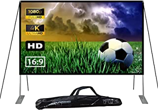 100 inch Projector Screen with Stand, 16:9 HD Outdoor Movie Projection Screen, Foldable & Portable Projection for Backyard...
