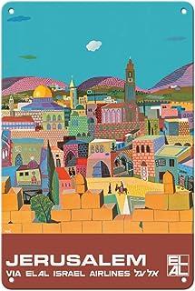 Pacifica Island Art Jerusalem, Israel - via El Al Israel Airlines - Vintage Airline Travel Poster by Peri Rosenfeld c.1970...