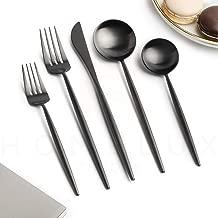 Homelux Theory 18/10 Matte Black Stainless Steel Flatware Silverware Cutlery Set   10-piece Adaline Royal Modern Kitchen Utensils   BEST Birthday Wedding Gift   (2 sets, Black matte polish)
