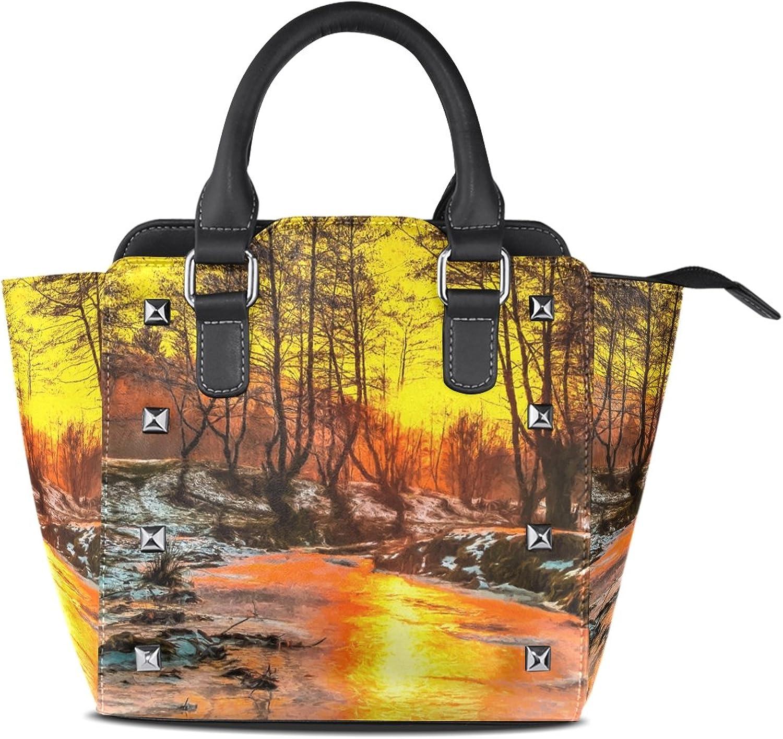 My Little Nest Women's Top Handle Satchel Handbag Oil Painting River Sunset Ladies PU Leather Shoulder Bag Crossbody Bag