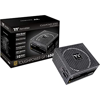 Thermaltake Toughpower GF1 650W 80+ Gold SLI/ CrossFire Ready Ultra Quiet 140mm Hydraulic Bearing Smart Zero Fan Full Modular Power Supply 10 Year Warranty PS-TPD-0650FNFAGU-1