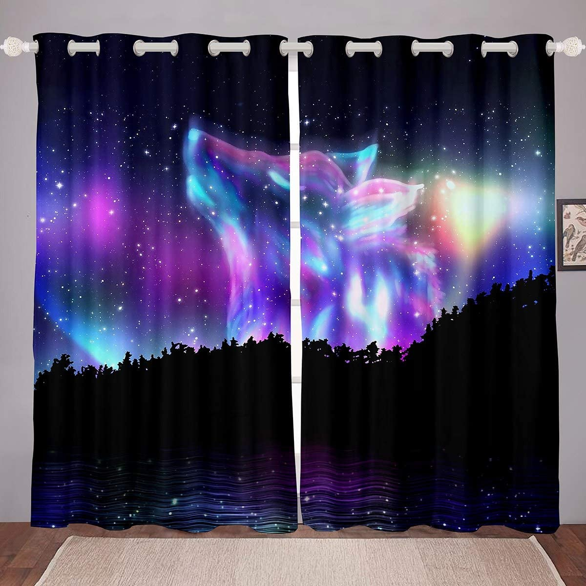 Safety and trust Northern Light Curtain Colorful Classic Galaxy Wolf Window Treatments Fo