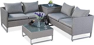 Tangkula 4 Piece Patio Furniture Set Outdoor Garden Lawn Wicker Rattan Cushioned Love Seat with Storage Conversation Set (Grey)