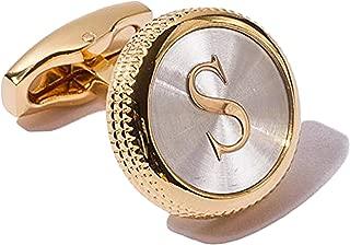 Digabi Men's 2PCS Fashion Dazzle Tuxedo Shirts Cufflinks 18K Gold Plated Cuff Button Alphabet Letter A-Z