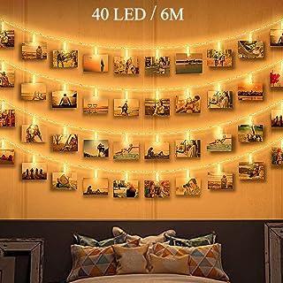 Clip Cadena de Luces LED Fotos, Zorara 40 LEDs 6M Fotoclips Guirnaldas de Luces Cadena de Luces Pilas para Colgar Totos, Decorar Pared, Fiesta, Boda, Habitación (6M 40LED)